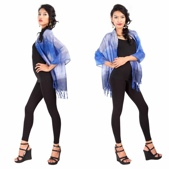 Two Toned Silky Scarf in Blue