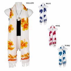 White Hibiscus Floral Design Plus Size Scarf, Wrap or Shawl - in your choice of colors