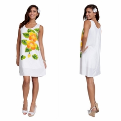 White Sundress With Hand Painted Gold Hibiscus Design - Lined