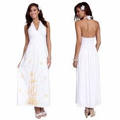 Womens Lined Long Dress - Halter - Bamboo White