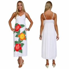 Womens Lined Long White Dress With Hand Painted Hibiscus Design