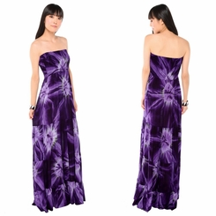 Womens Long Dress with Smoked Purple Design