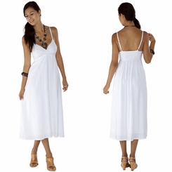 Womens Long Summer Embroidered Cross Over Dress in White - Lined