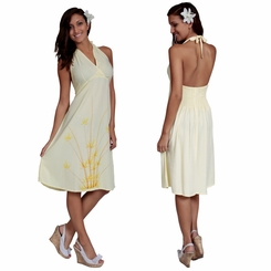 Womens Sundress - Halter - Bamboo Yellow / <B>FINAL SALE NO RETURNS</B>