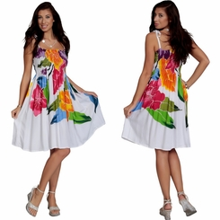 Womens Sundress/Tube Dress in White with Bright Floral Design