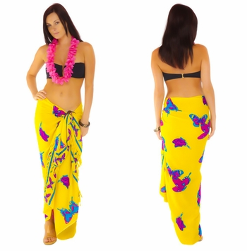 """Yellow and Fuchsia Butterfly Sarong """"BF 16"""""""