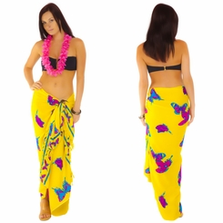"Yellow and Fuchsia Butterfly Sarong ""BF 16"""