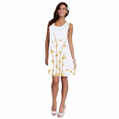 White Sundress With Hand Painted Bamboo Design Lined