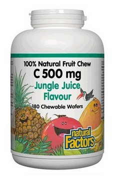 100% Natural Fruit Chew C 500 mg Jungle Juice by Natural Factors - 180 Chewable Wafers