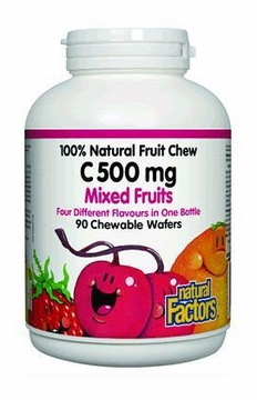 100% Natural Fruit Chew C 500 mg Mixed Fruit by Natural Factors - 90 Chewable Wafers