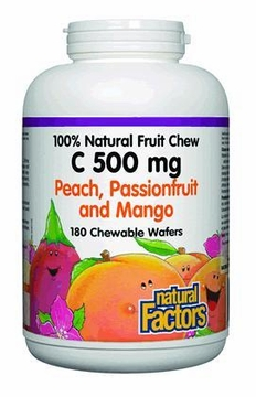 100% Natural Fruit Chew C 500 mg Peach Passionfruit & Mango  by Natural Factors - 180 Chewable Wafers