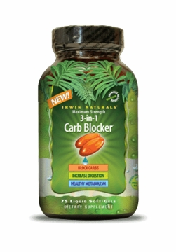3-in-1 Carb Blocker by Irwin Naturals - 75 Gel Caps