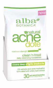 AcneDote Clean 'n Treat Cleansing Towelettes by Alba Botanica - 30 Count
