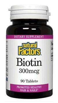 Biotin 300 mcg by Natural Factors - 90 Tablets