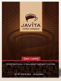 Burn + Control Weightloss Gourmet Instant Coffee by Javita - 24 Sticks