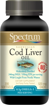 Cod Liver Oil 520mg by Spectrum Organics - 200 Softgels
