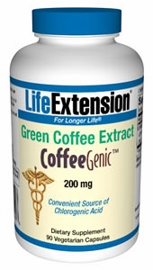 CoffeeGenic Green Coffee Extract 200 mg by Life Extension - 90 Vegetarian Capsules