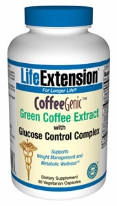 CoffeeGenic Green Coffee Extract with Glucose Control Complex by Life Extension - 90 Vegetarian Capsules