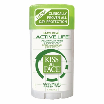 Kiss My Face Paraben Free Active Life Deodorant Stick (Cucumber Green Tea) - 2.48 Ounces