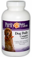 Dog Daily Complete Multivitamin by Purity Pets - 180 Chicken Liver Flavored Chewable Tablets