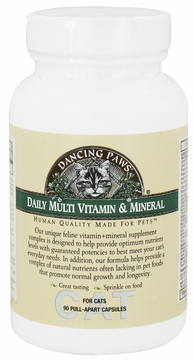 Feline Daily Multi Vitamin and Mineral by Dancing Paws - 90 Capsules