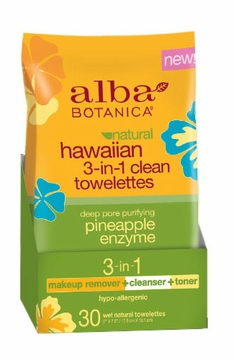 Hawaiian 3-in-1 Clean Towelettes by Alba Botanica - 30 Count