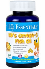 I.Q. Essentials Childrens Omega-3 Fish Oil by Purity Products - 150 Orange Flavored Childrens Soft Gels