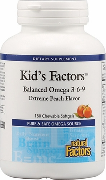Kid's Factors Balanced Omega 3-6-9 by Natural Factors - 180 Chewable Softgels