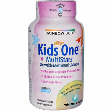 Rainbow Light Kids One MultiStars Fruit Punch  - 90 Chewable Tablets