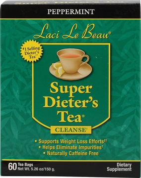 Laci Le Beau Super Dieter's Tea Peppermint by Natrol - 60 Tea Bags