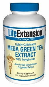 Mega Green Tea Extract Lightly Caffeinated by Life Extension - 100 Vegetarian Capsules