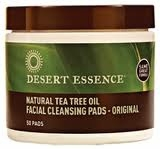 Natural Cleansing Pads w/Tea Tree Oil by Desert Essence - 50 Pads