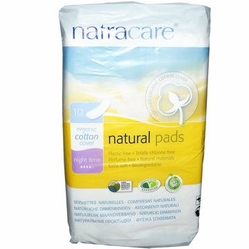 Natural Maxi Pads Night Time Long by Natracare - 10 Pads