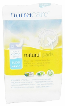 Natural Maxi Pads Super by Natracare - 12 Pads