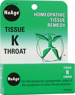 NuAge Tissue K Throat by Hylands - 125 Tablets