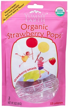 Organic Lollipops Strawberry by Yummyearth - 3 oz. / Case of 6