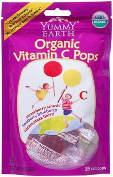 Organic Vitamin C Lollipops by Yummyearth - 3 oz. /  Case of 6