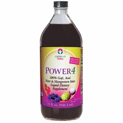 Power4 100% Goji, Acai, Noni & Mangosteen Supplement by Genesis Today - 32oz. Liquid