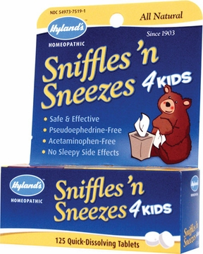 Sniffles N' Sneezes 4 Kids by Hylands - 125 Tablets