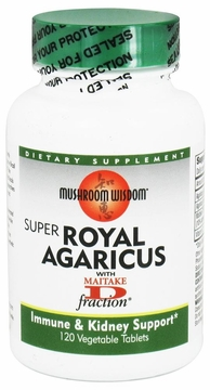 Mushroom Wisdom Super Royal Agaricus - 120 Vegetarian Tablets