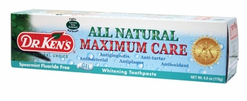 Toothpaste Maximum Care Whitening Fluoride Free Spearmint by Dr. Ken's - 6oz.