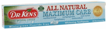 Toothpaste Maximum Care Whitening Fluoride Free Wintergreen by Dr. Ken's - 6oz.