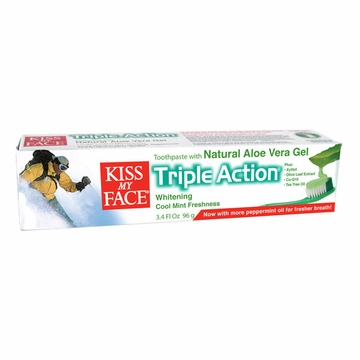 Kiss My Face Triple Action Natural Oral Care Toothpaste (Aloe Vera) - 3.4 Ounces