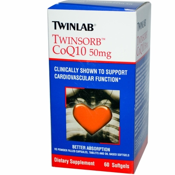 Twinlab Twinsorb CoQ10 50 mg - 60 Softgels