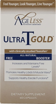 Ageless Foundation Ultra T Gold Free Testosterone Booster - 60 Capsules