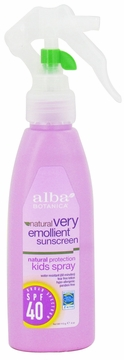 Very Emollient Sunscreen Natural Protection Kids Spray 40 SPF by Alba Botanica - 4oz.