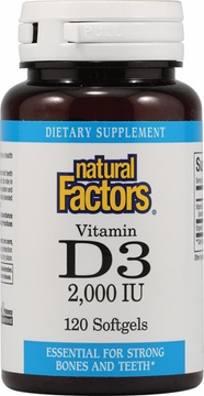Vitamin D3 2000 IU by Natural factors - 120 Softgels
