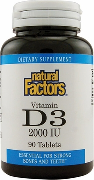 Vitamin D3 2000 IU by Natural factors - 90 Tablets