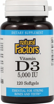Vitamin D3 5000 IU by Natural factors - 120 Softgels
