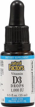 Vitamin D3 Drops 1000 IU by Natural Factors - .5 oz.